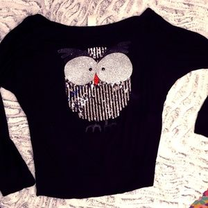 Slouchy Black Top with Sequined Owl